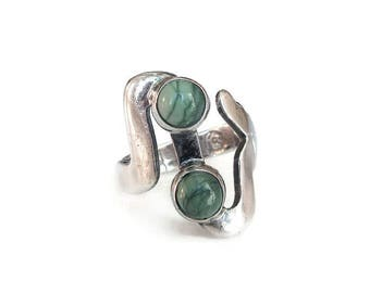Mexican Sterling Green Turquoise Modernist Ring - Mexico MLV 925, Eagle 3, Vintage Ring, Sterling Ring, Vintage Jewelry, Size 6