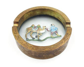 Chinese Brass Enamel Glass Ashtray - Chinese Export, Champleve Enamel, Man and Camel, Trinket Dish, Vintage Home Decor, Marked China