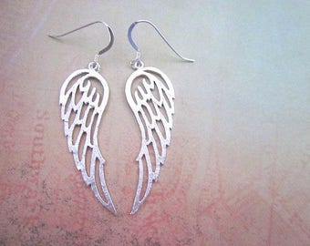Silver Angel Wing Earrings -- Sterling Wing Dangles -- Guardian Earrings -- Bird Wing Earrings -- Pointed Silver Earrings -- Wing Jewelry