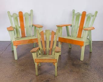 Set 3 1960s Vintage Family Adirondack Patio Deck Chairs