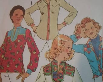1970s Simplicity 7143 Woman's Tunic BlouseVintage Sewing Pattern Bust 36