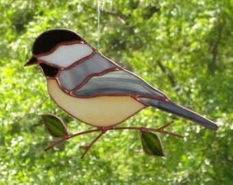 Chickadee - Large Stained Glass Bird Suncatcher 68171