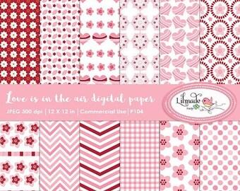 65%OFF SALE Valentine digital paper, Valentine scrapbook paper, pink digital papers, patterned paper, P104