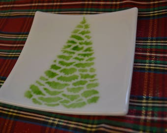 Sushi Dish, Christmas Dessert Plate, Fused Glass, Christmas Tree Design, Soap Dish, Sponge Holder, Spoon Rest, Hostess Gift