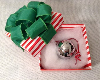 2017  Polar Express Style Silver Sleigh Bell in hand folded box from the elves at Elf Works Lane w I Believe elf deco box