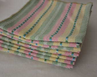 Everyday Table Napkins in Stripes  of White and Pastel Colors of Pink, Green, Blue,  and  Yellow  (Set of 8 and Sets of 12)