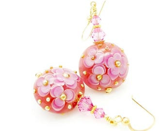 Pink Earrings, Floral Earrings, Lampwork Earrings, Flower Earrings, Glass Beads Earrings, Gold Filled Earrings, Glass Earrings