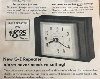 1951 General Electric repeater never needs re setting ad 5 1/2 x 7 1/2.