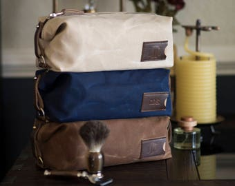 Personalized Groomsmen Gift: Waxed Canvas Dopp Kit, Expandable, Mens Toiletry Bag, Travel - No. 345 (Made in the USA) FREE Domestic SHIPPING