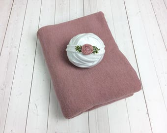 Pink Newborn Posing Fabric - White Stretch Newborn Wrap Tieback - Dusty Rose Backdrop Fabric - Bean Bag Cover Bundle - Girl Photo Prop