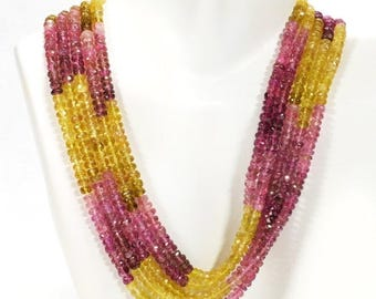 ON SALE Pink and Yellow Tourmaline Rondelles Faceted Shaded Rubelite and Yellow Rondels Roundels Earth Mined Gems  - 7 Inch Strands - 4mm