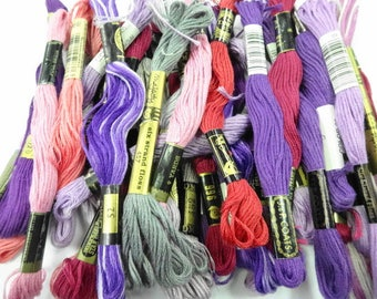 Shades of Purple Pink Estate Lot Variety Colors Vintage Embroidery Floss Thread Sewing Craft Notions Skeins (36) Each