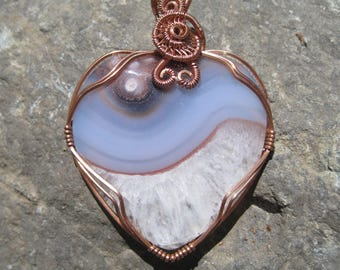 Harmonizing Love//Crystalized Quartz, Agate and Copper Wire Wrap Heart Pendant, One of a Kind, Handmade, Art