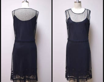 DESIGNER ~ AEFFE S.P.A ~ Made in Italy Black Mesh Lace Sheer Slip Dress Size 10