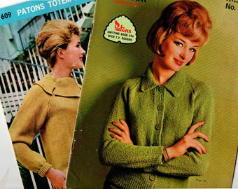 Lot Of TWO Vintage 60s Womens Knitting patterns booklets Patons 716 and 696 ORIGINALS not PDF