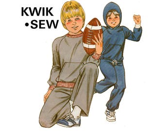 Kwik Sew 1150 Boys Stretch Jogging Suit / Tracksuit Optional Hood Pockets 80s Vintage Sewing Pattern Size 8 10 12 14 UNCUT Factory Folded