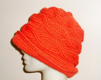Hand knit hat for women's hat with brim winter hat in orange - Valentine's gift for women