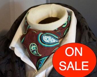 Pure Cotton - Brown Teal Paisley - DAY Cravat Victorian Ascot Tie Cravat