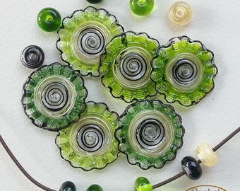 Lampwork Glass Green Disc Beads, FREE SHIPPING, Set of Handmade Disc Beads and Spacers, Rachelcartglass