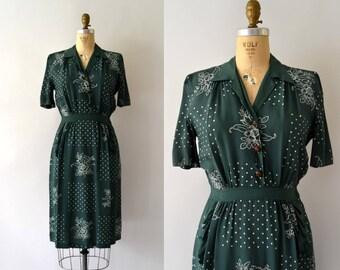 1940s Vintage Dress - 40s Green Floral Rayon Dress