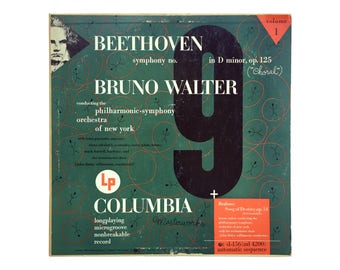 "Alex Steinweiss record album design, 1949. ""Beethoven Symphony No. 9 in D Minor"" Volumes 1 & 2. Two-LP set"