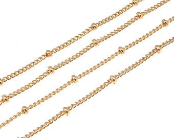 1 meter, BC-001 Rose Gold plated, 135SF Curb with 2mm beads chain, Satellite chain, Delicate chains