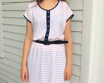Nautical Striped Dress White Casual 70s L XL