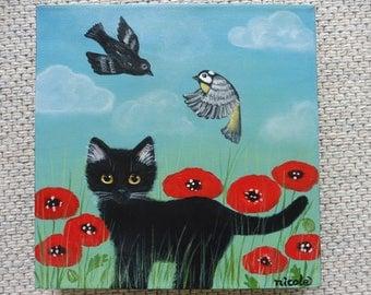 Original Painting Acrylic Art Black Cat Kitten Poppy Field Birds Naive Folk Wall Decoration
