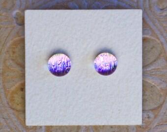 Dichroic Glass Earrings , Lavender Pink   DGE-1194