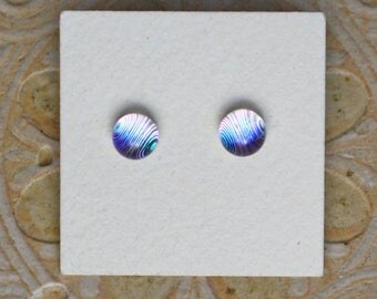 Dichroic Glass Earrings , Petite, Silver/Green Tint/Magenta DGE-1282