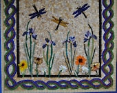 Iris Dragonfly custom designed mosaic stepping stone