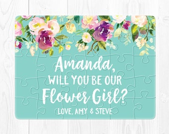 Flower Girl Puzzle Will You Be My Flower Girl Gift Will You Be My Flower Girl Proposal Gift Flower Girl Card Flower Girl Proposal Card Blue