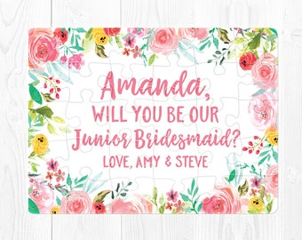 Junior Bridesmaid Proposal Puzzle Will You Be My Junior Bridesmaid Gift Junior Bridesmaid Puzzle Proposal Custom Proposal Card Pink Green