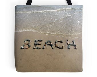 Beach Bag- Market Bag, Beach Theme Tote, Shopping Bag, Book Bag, Beach stone Word Art, Beach Rocks, Beach Photography, Photo Tote, Carry All