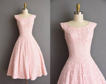 50s vintage dress. 50s pink cotton candy lace full skirt vintage party dress