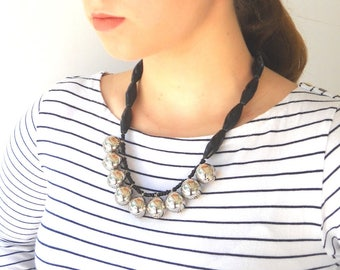 Beaded Necklace, Statement Black and Silver Unique Necklace for her, Original handmade Jewelry