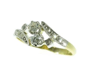 ON SALE Original Belle Epoque love engagement ring you and me 18K yellow gold antique ring old European cut diamonds