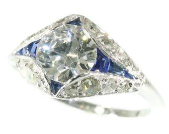 Blue sapphire center diamond engagement ring platinum natural sapphires old European cut diamond 1.67ct vintage Art Deco ring