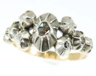Antique diamond 18k rose gold ring silver Victorian engagement ring rose cut diamonds