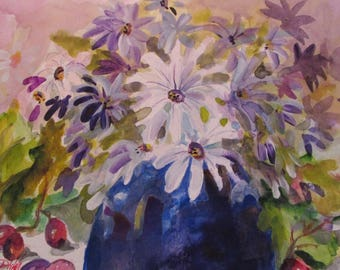 Daisy Still Life floral 9x12 watercolor Art by Delilah