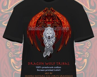 Red Dragon White Wolf Tee