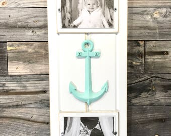 "Nautical/anchor white frame holds 2 4""x6"" photos"