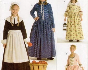 Sz 3/4/5/6 - Girls Costume Pattern Simplicity 3725 by ANDREA SCHEWE - Child and Girls' Costumes - Pilgrim, 18th Century or Colonial Costumes