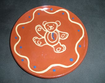 Vintage Redware Pottery Plate with Teddy Bear Slipware Design, 1985