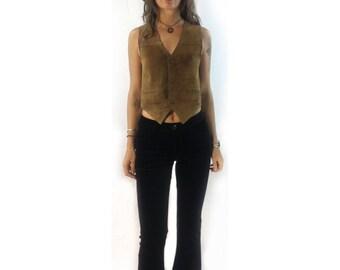 Vintage suede leather vest // size 10