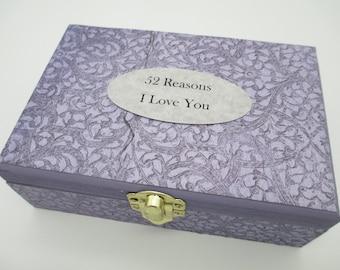 52 Reasons I Love You Kit- Reasons I Love You -Wooden Box - Fifty-Two Reasons Gift- Keepsake Box- Birthday Gift