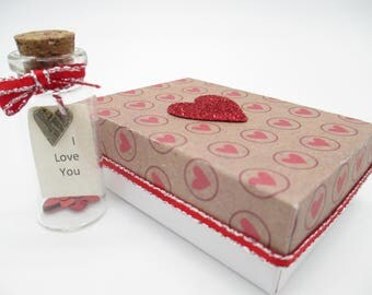 Tiny Glass Bottle with Love Note and Heart- Wedding - Anniversary- Engagement