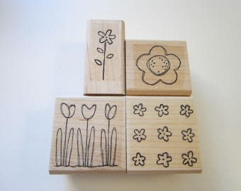 4 rubber stamps - POCKET FULL of POSIES - Stampin Up