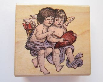 vintage rubber stamp - ANGEL PAIR - CoMotion Rubber Stamps 1995 - angels, cherubs