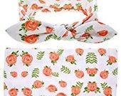 Newborn Baby Girl Swaddle Blanket & Headband Set
